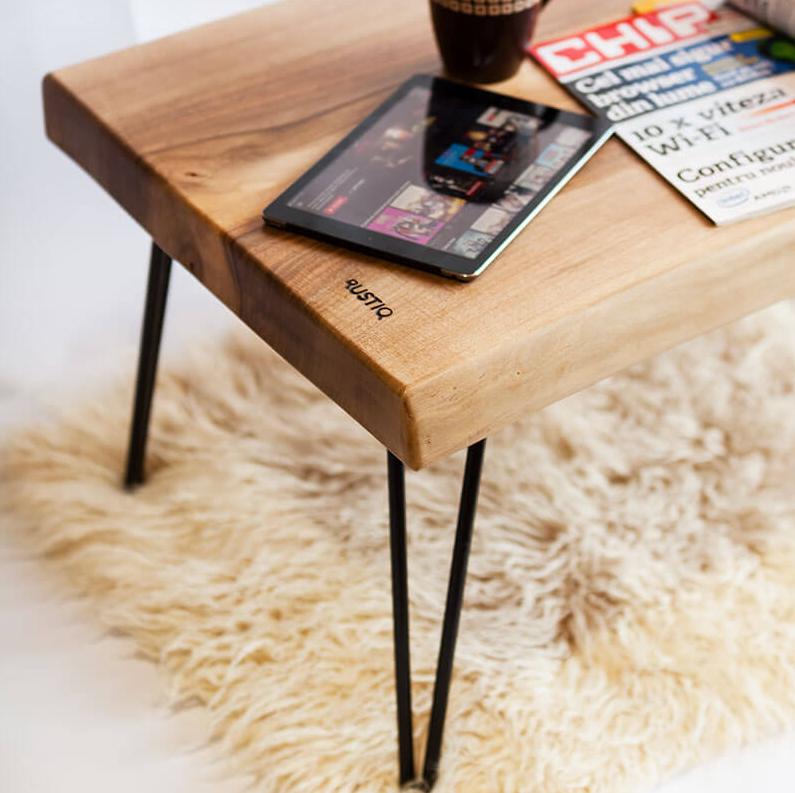 Coffee Table Walnut Minimal Design Hairpin Legs